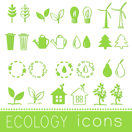 clean energy: Flat design of ecology, environment, green clean energy and poll