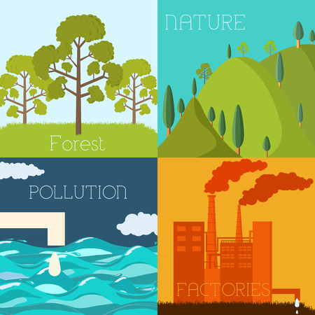 green environment: Flat design of ecology, environment, green clean energy and poll