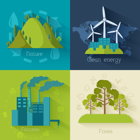 industry park: Flat design of ecology, environment, green clean energy and poll