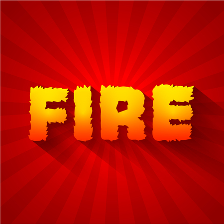 dialect: Fire text on a red background concept. Vector design concept ill