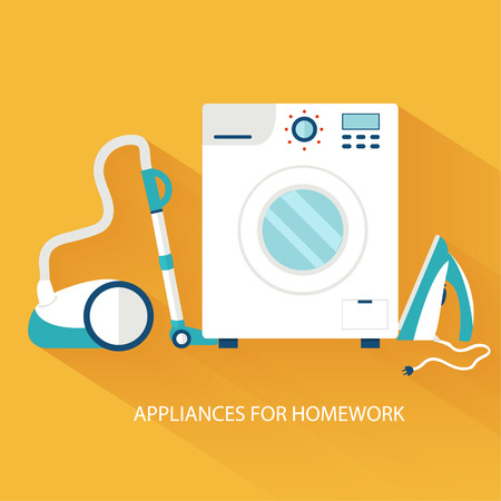 dry cleaner: Flat household appliances background concept. Vector illustratio Illustration