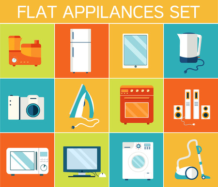 vacuum cleaning: Flat modern kitchen appliances set icons concept. Vector illustr Illustration