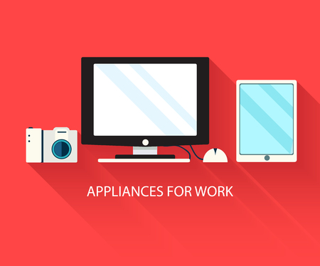 modern home: Flat modern home electronics appliances set icons concept. Vecto