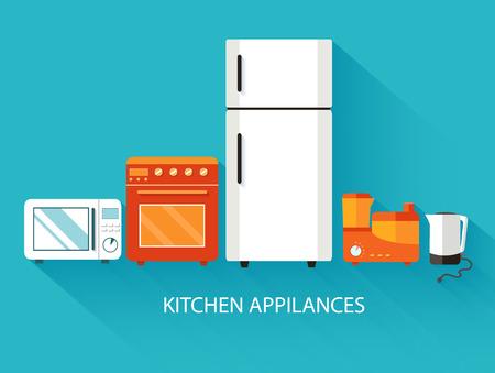 Flat modern kitchen appliances background concept. Vector illust Vector