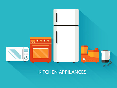 illust: Flat modern kitchen appliances background concept. Vector illust