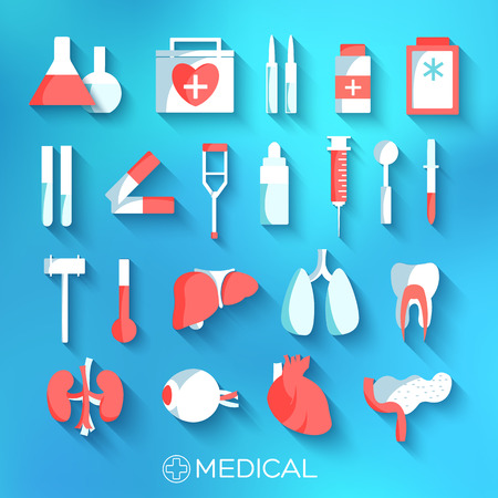 flat medicine equipment set icon concept on blurred background. Vector