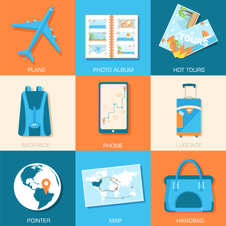 tourism icons set concept. Tourism with fast travel on a flat de Vector