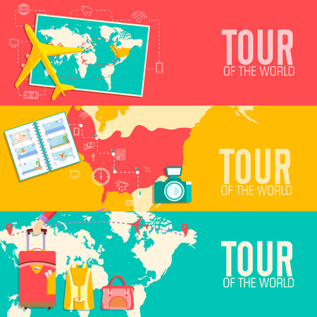 tour of the world seamless pattern concept. Tourism with fast tr Vector