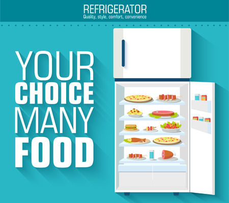 Flat fridge full of many food background concept. Vector illustr