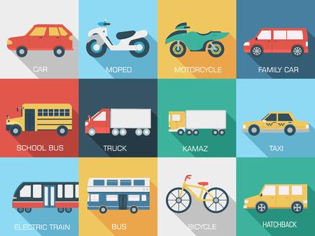transporte escolar: Piso coches concepto de dise�o conjunto de iconos fondos ilustraci�n. Apisonar Vectores