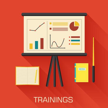 professional development: training concept design. Analytics business desk infographic wit Illustration