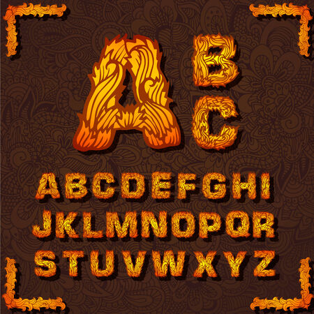 fire font: Fire set font alphabet text on a red background concept. Vector Illustration