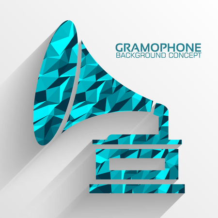illustrati: Polygonal retro gramophone vector background concept. Illustrati Illustration