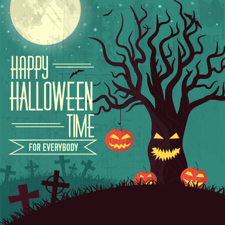 Halloween time background concept in retro style. Vector illustr Illustration