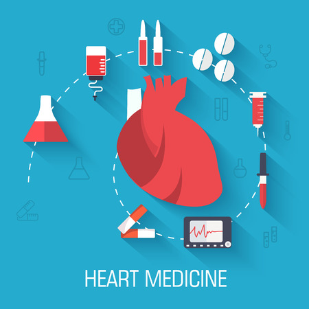 heart doctor: flat medical equipment set icons concept background. vector illu