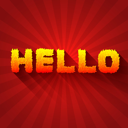 dialect: Fire hello text on a red background concept. Vector design conce