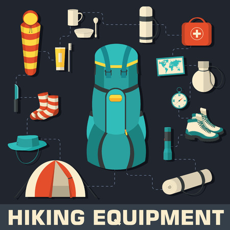 Flat colorful vector tourist equipment infographic. Icons backgr Illustration