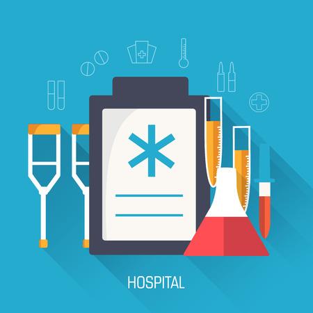 flat medical equipment set icons concept background. vector illu Vector