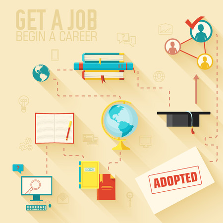 get a job for begin a career infographic background concept in r Ilustrace