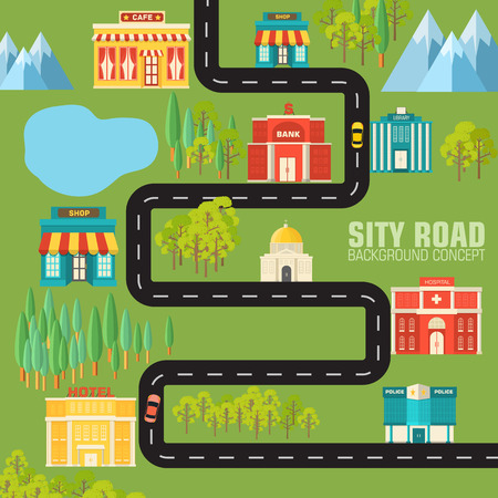 road to the city on flat style background concept. Vector illust Vector