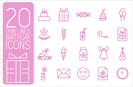 thin line happy birthday icons set concept. Vector illustration Vector