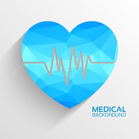 patient chart: Polygonal  medical heart vector background concept. Illustration Illustration