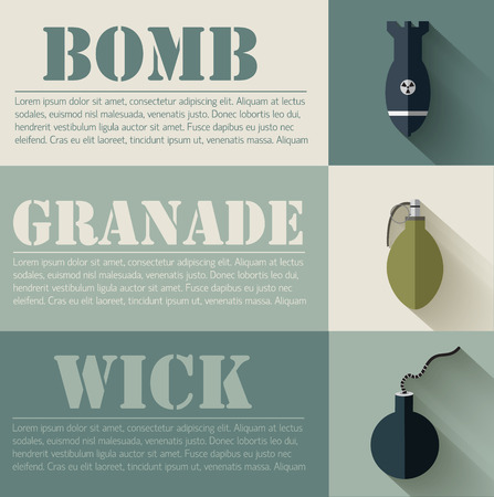 grenade: flat military explosive weapons set design concept. Vector illus
