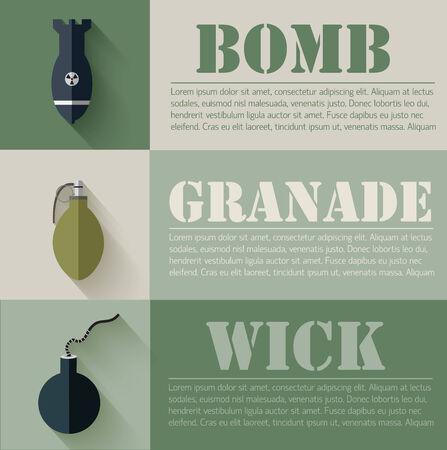 flat military explosive weapons set design concept. Vector illus Vector