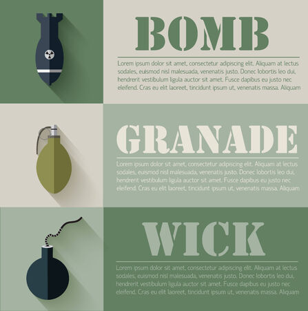 bombshell: flat military explosive weapons set design concept. Vector illus