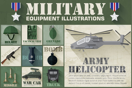 special forces: Army concept of military equipment flat icons background. vector