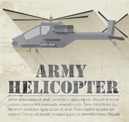 interceptor: grunge military helicopter icon background concept. Vector illus