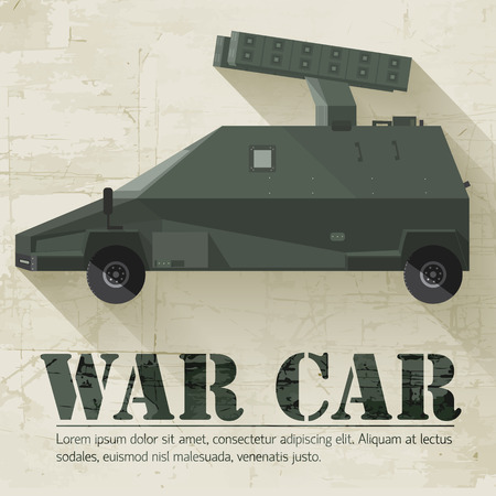 freewheel: grunge military war car icon background concept. Vector illustra