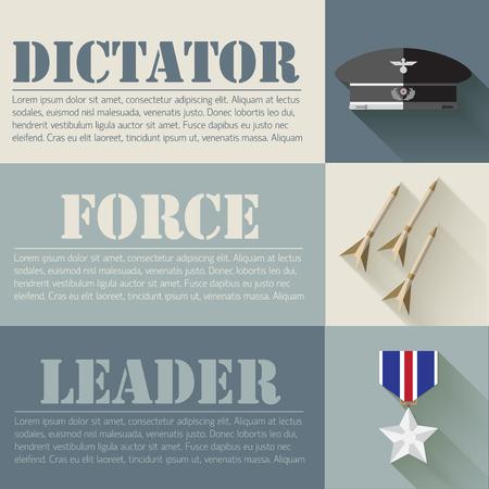 illus: flat military soldier equipment set design concept. Vector illus