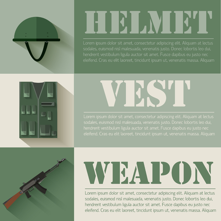 kevlar: flat military soldier equipment set design concept. Vector illus