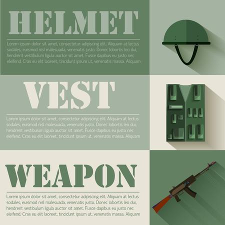 safety vest: flat military soldier equipment set design concept. Vector illus