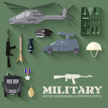 granade: Army concept of military equipment flat icons background. vector