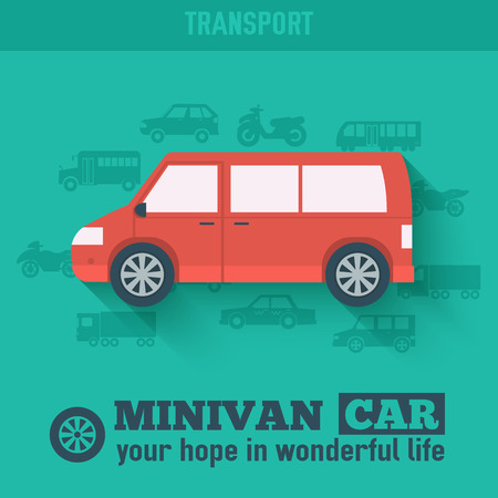 Flat minivan car background illustration concept. Tamplate for w Vector