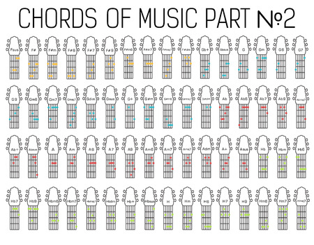 chords: Classical basic guitar chords graphic of music set illustration.