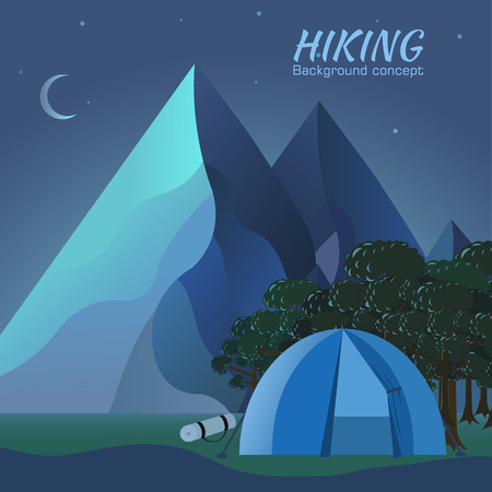 tourist information: Flat colorful vector night tourism camping set.Icons background