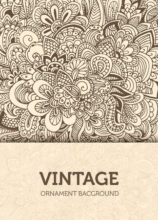 summer festival: Hand drawn abstract background ornament illustration concept. Ve Illustration