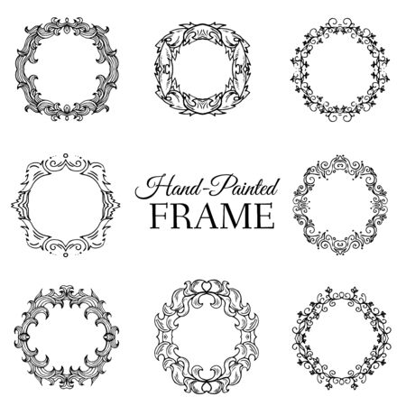 illus: Hand drawn abstract background ornament frame on old paper illus