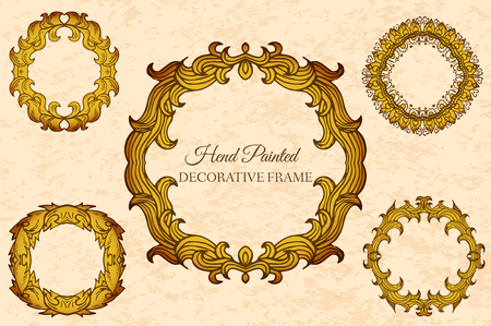 Hand drawn abstract background ornament frame on old paper illus