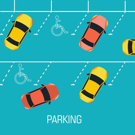 busy city: Flat parking a car background concept. Vector illustration desig