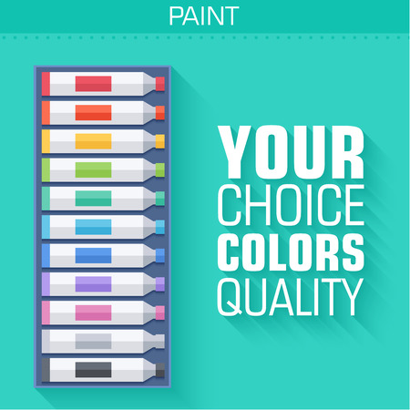 artboard: flat art painter workshop with paint supplies equipment tools ba