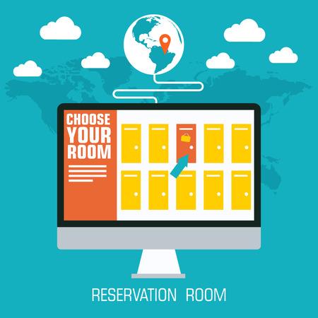 flat reservation room background design concept. Vector illustra Vector