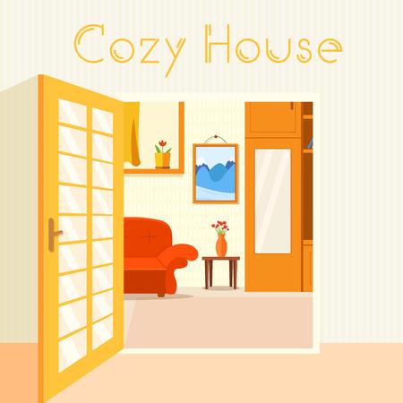 sofa bed: Flat cozy room in house with open doors background vector illust