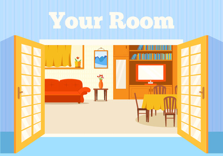 Flat cozy room in house with open doors background vector illust
