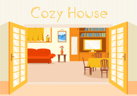illust: Flat cozy room in house with open doors background vector illust