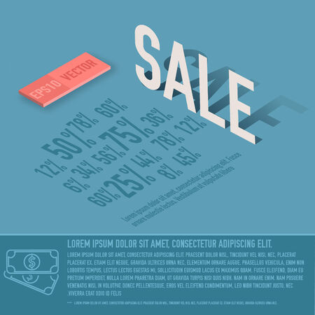 illustrati: sale percent card business vector background concept. illustrati