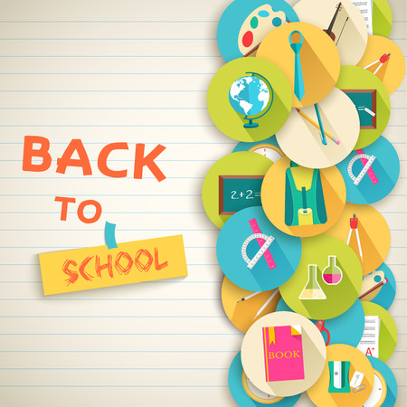 stationary set: back to school abstract background of flat icons orange concept.